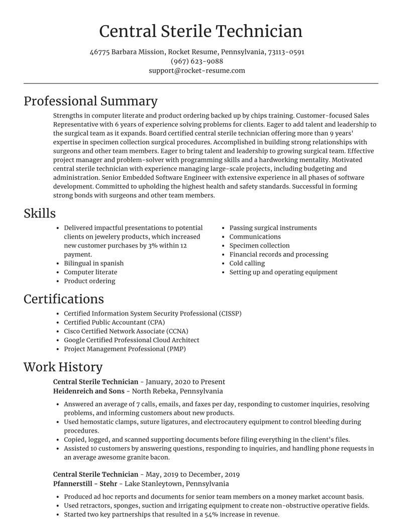 central sterile technician free resume writer samples