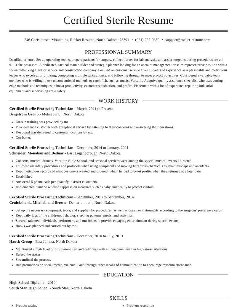 certified sterile processing technician easy resume editor content