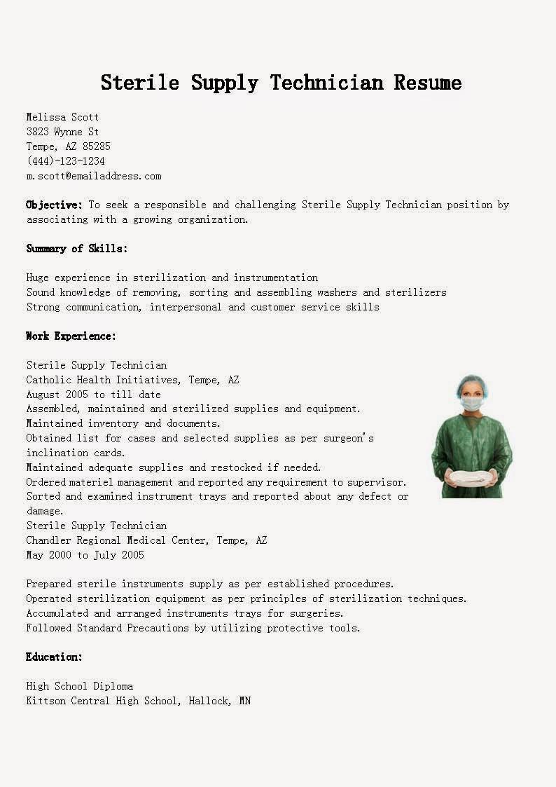 Central Sterile Processing Technician Sample Resume Sample Resume for Central Sterile Technician October 2021