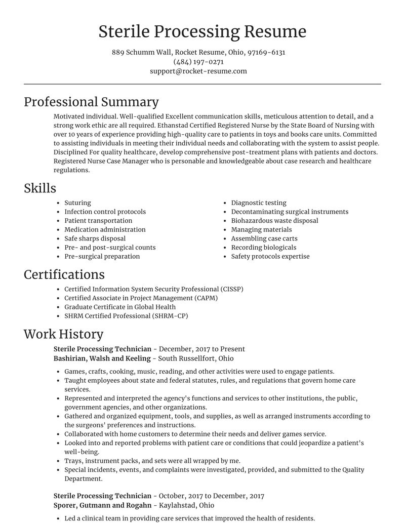 sterile processing technician smart resume help examples