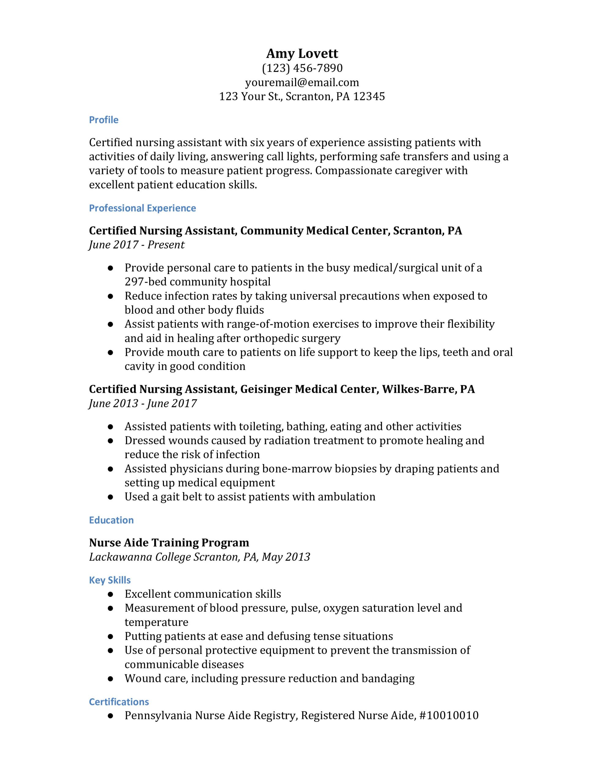 cna resume examples