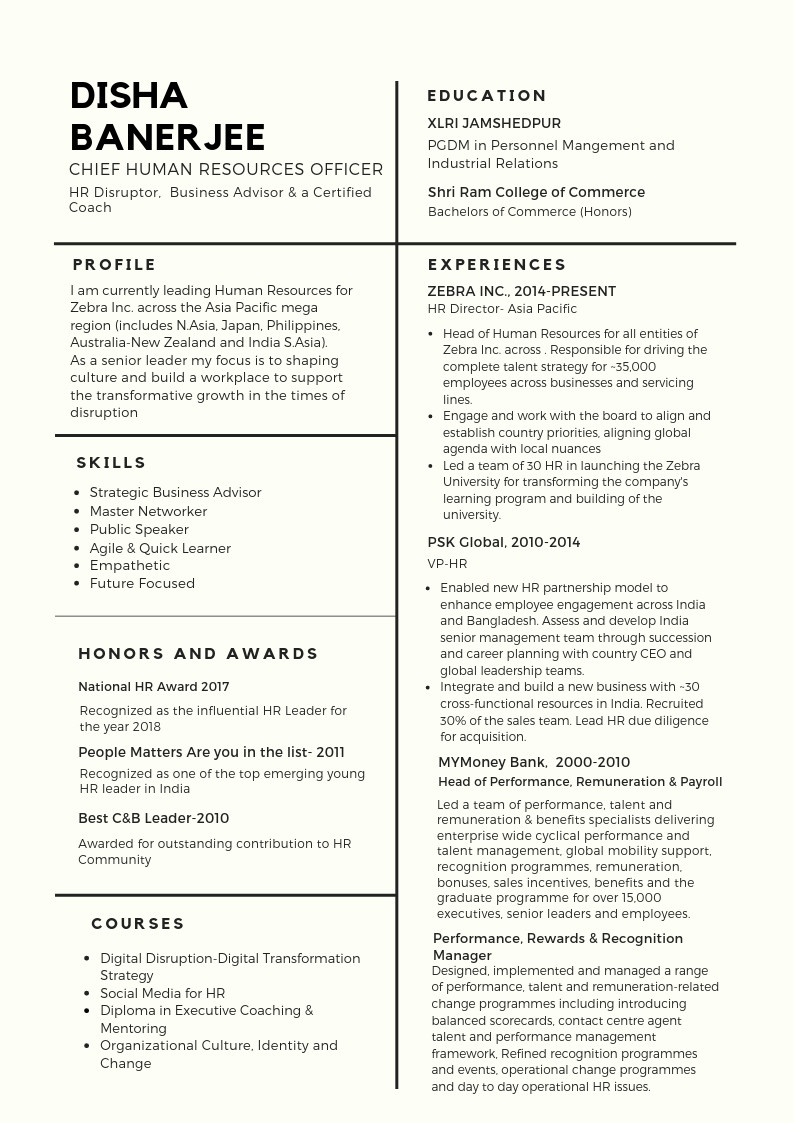 Chief Human Resources Officer Resume Samples Article: the 'perfect' Chro Resume — People Matters