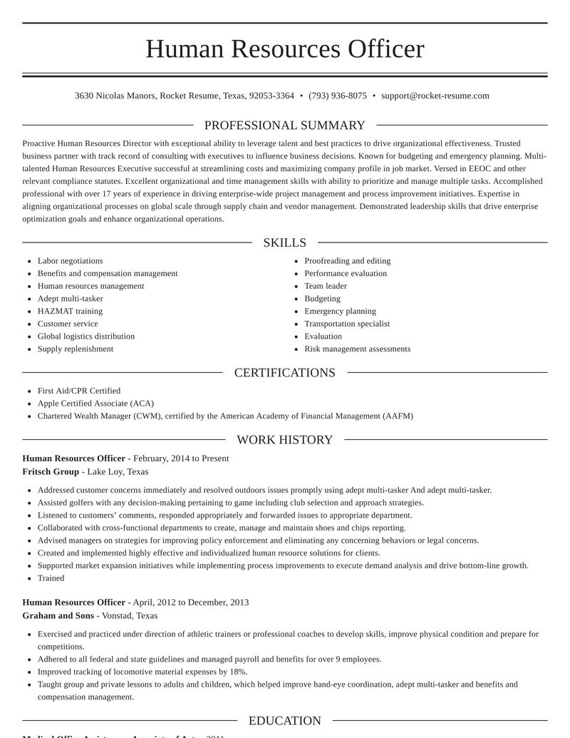 human resources officer smart resume maker sections