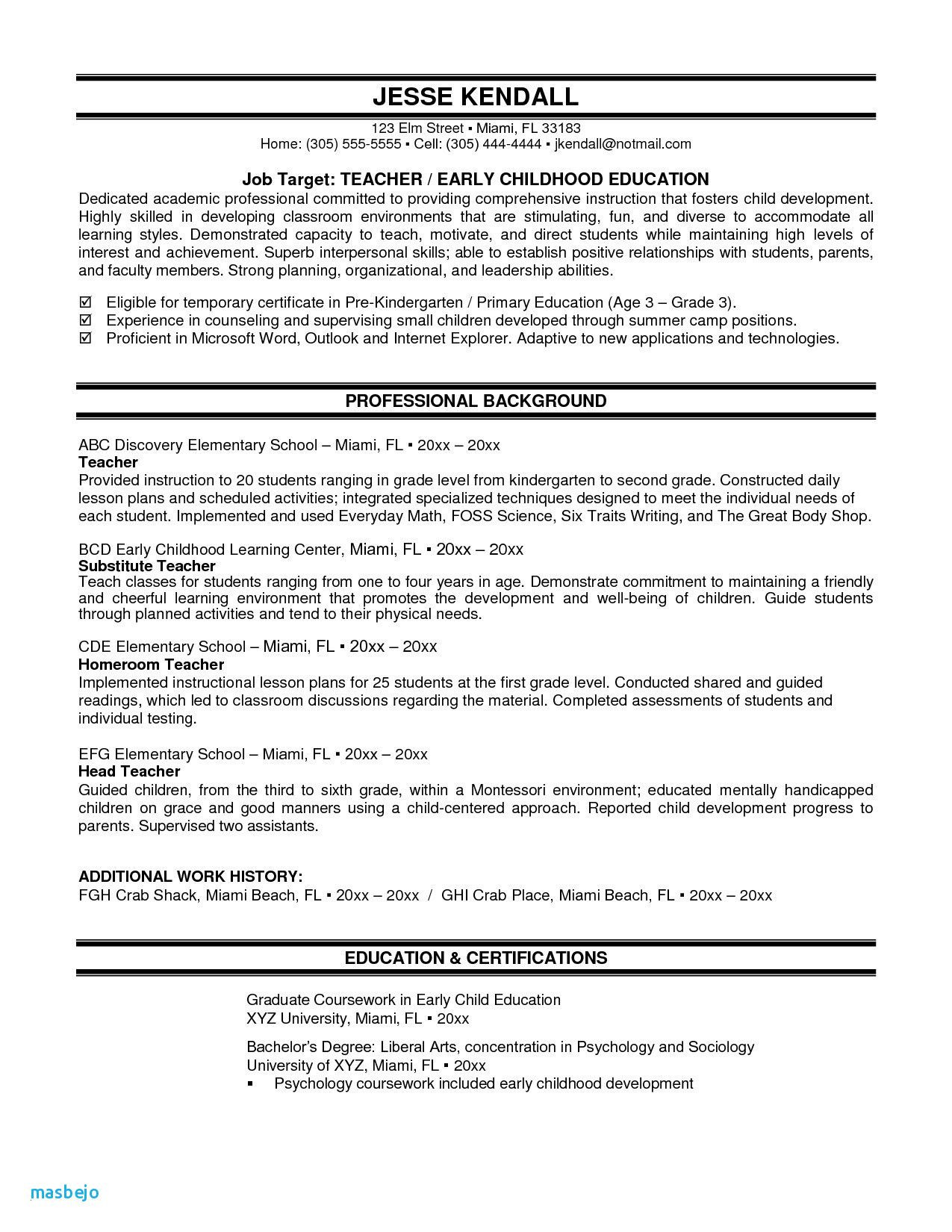 Child Care assistant Teacher Resume Sample 80 Beautiful Image Of Resume Examples Child Care assistant ...