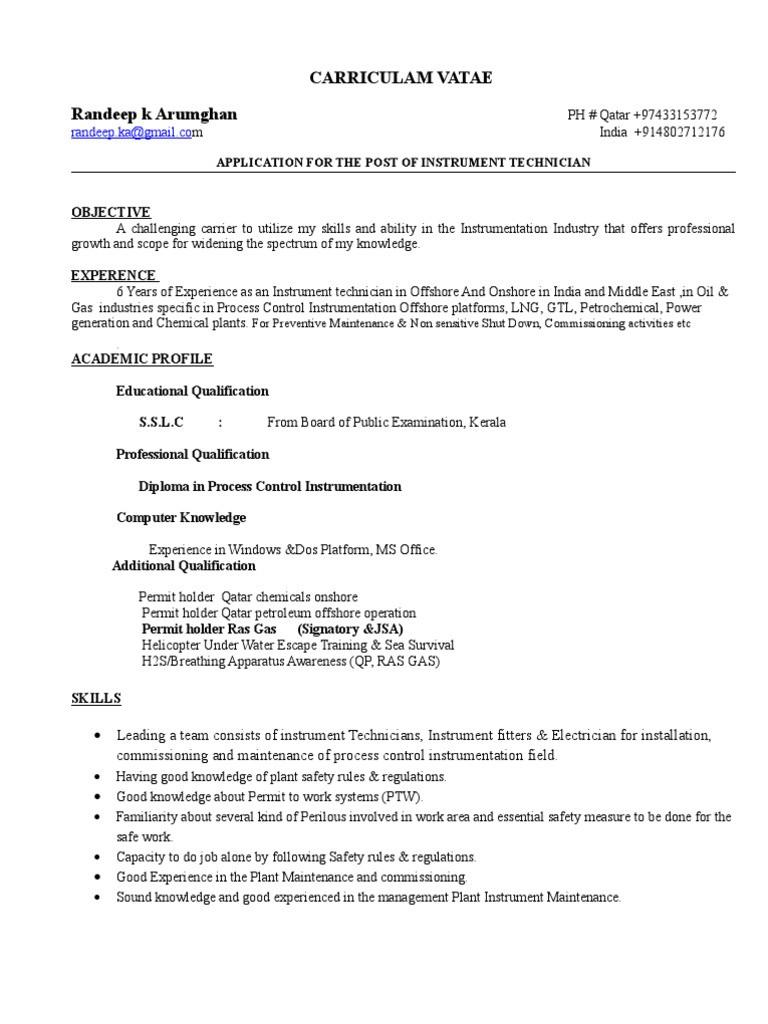 Electrical and Instrumentation Technician Resume Sample Instrument Technician Job Description Resume