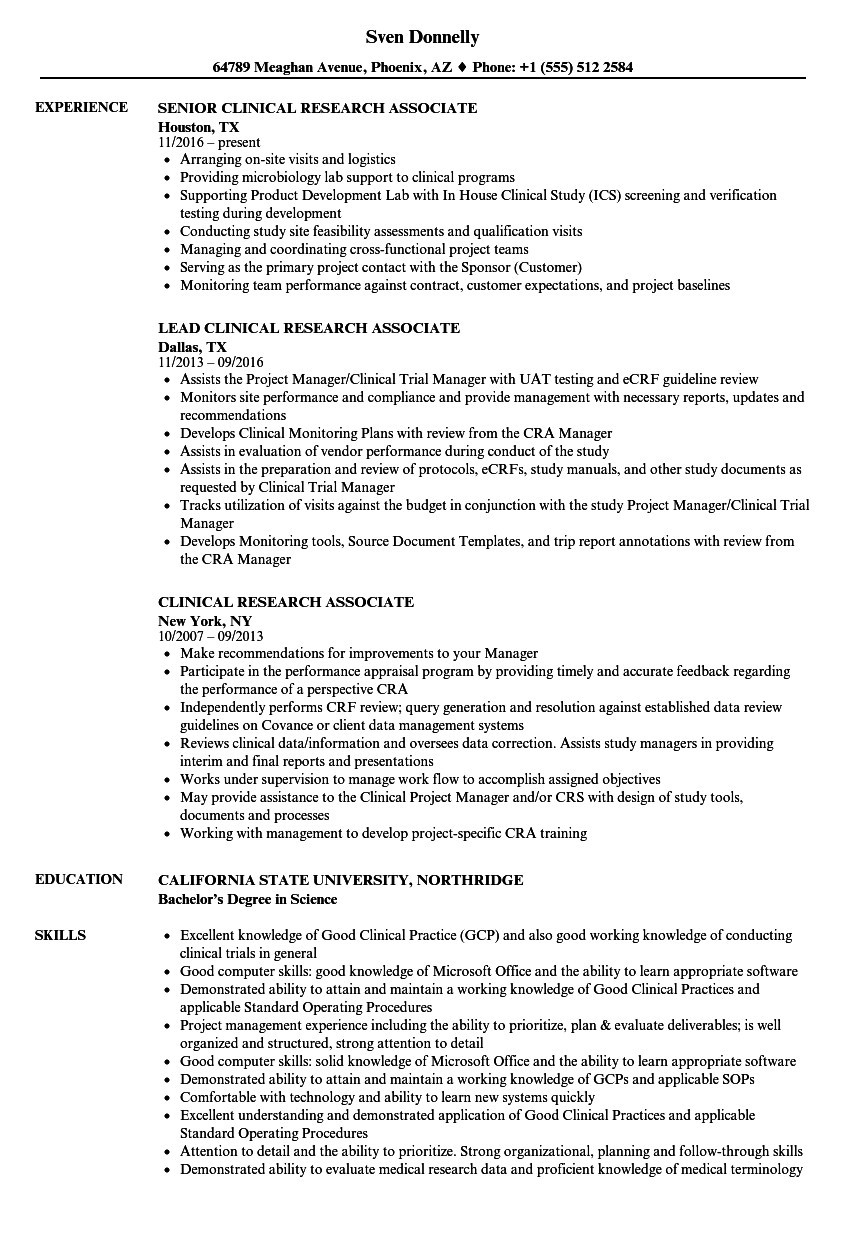 cover letter for clinical research associate entry levelml