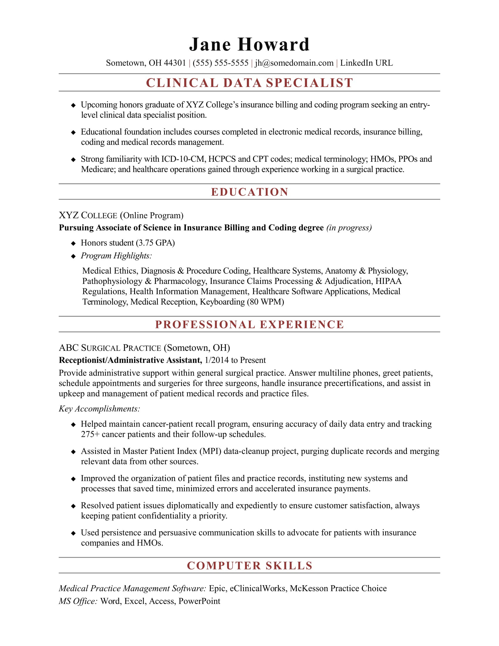 sample resume clinical data specialist entry level