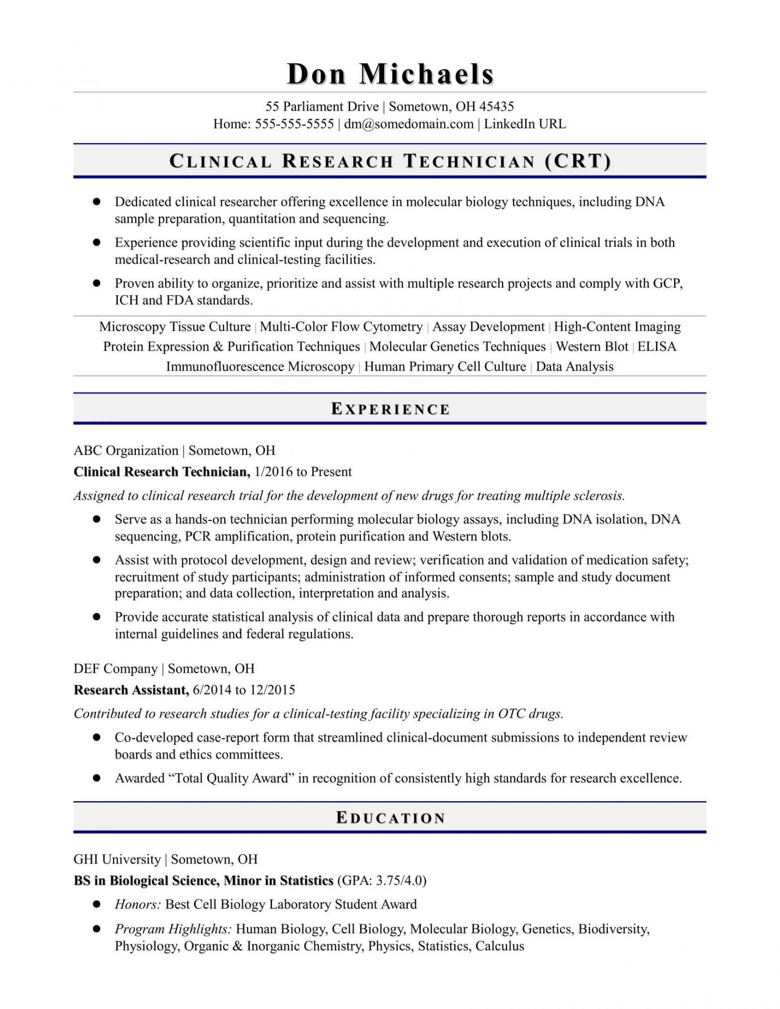 Entry Level Clinical Research associate Resume Sample Entry-level Research Technician Resume Sample Monster.com