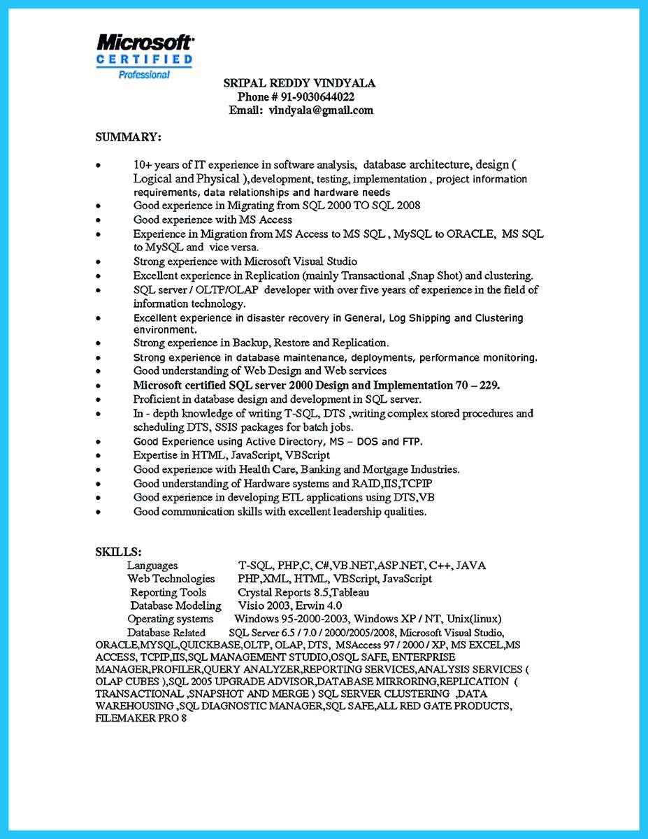 database administrator resume entry levelml