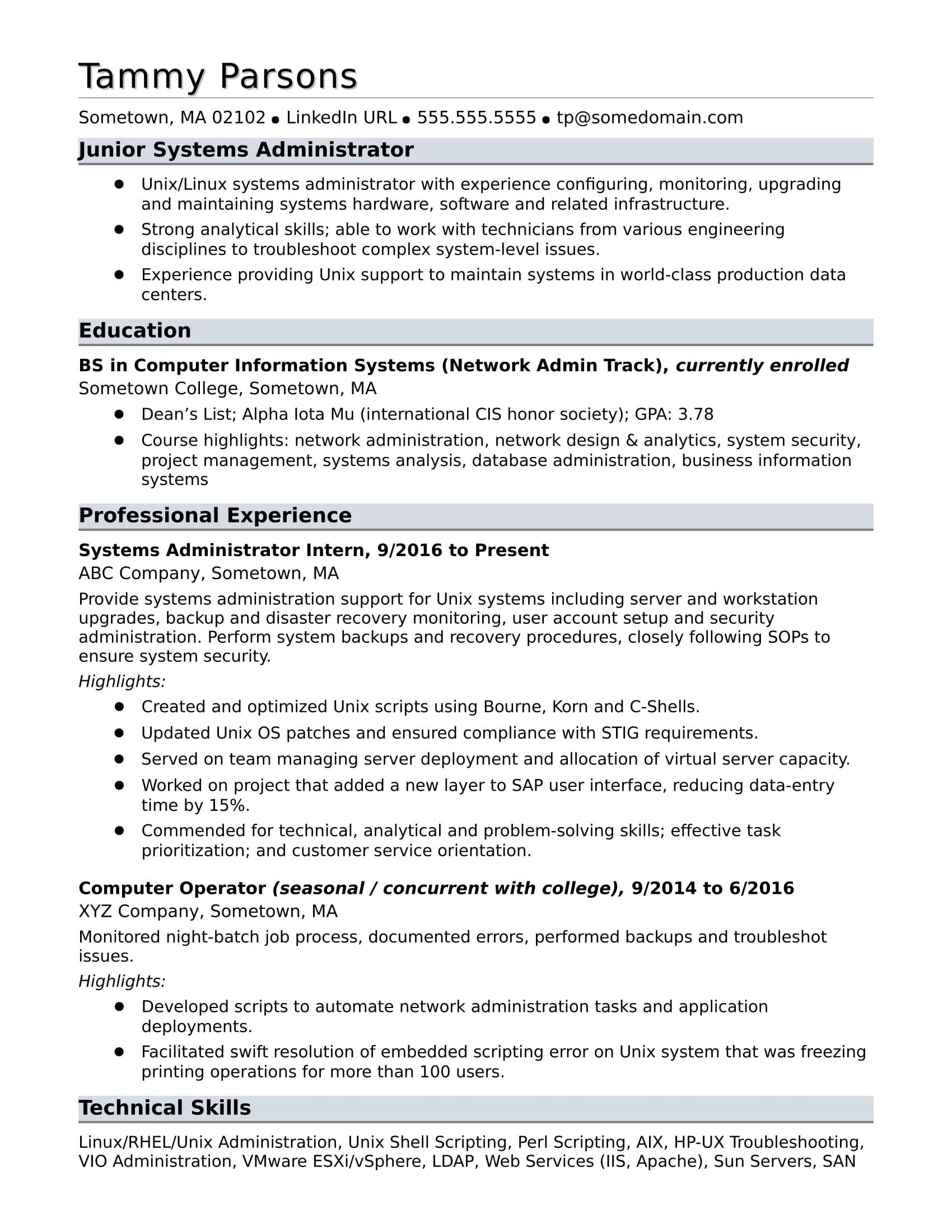 Entry Level Database Administrator Resume Sample Sample Resume for An Entry-level Systems Administrator Monster.com