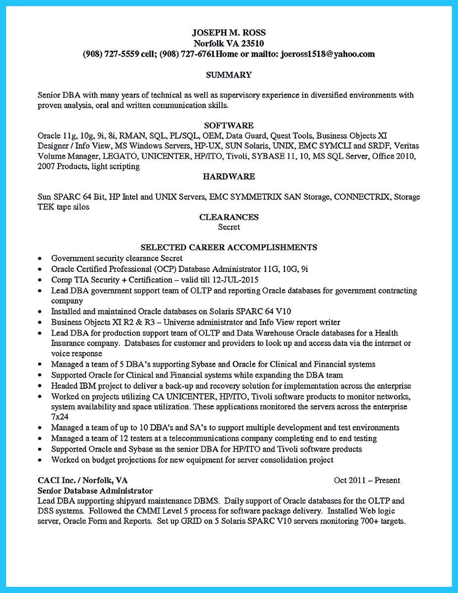 sql database administrator resume