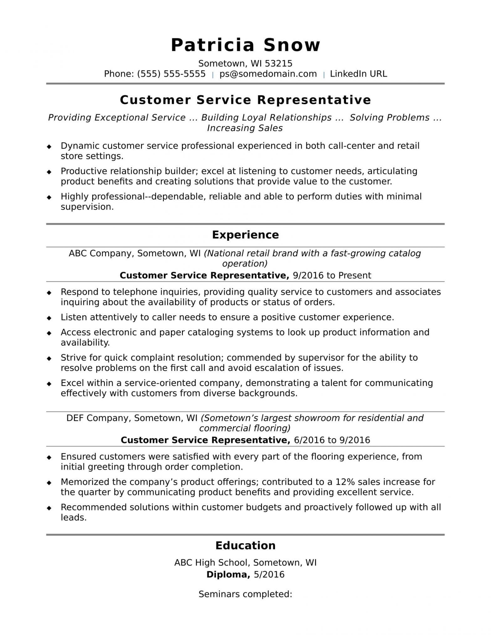 Free Sample Resume for Customer Service Representative Customer Service Representative Resume Sample Monster.com