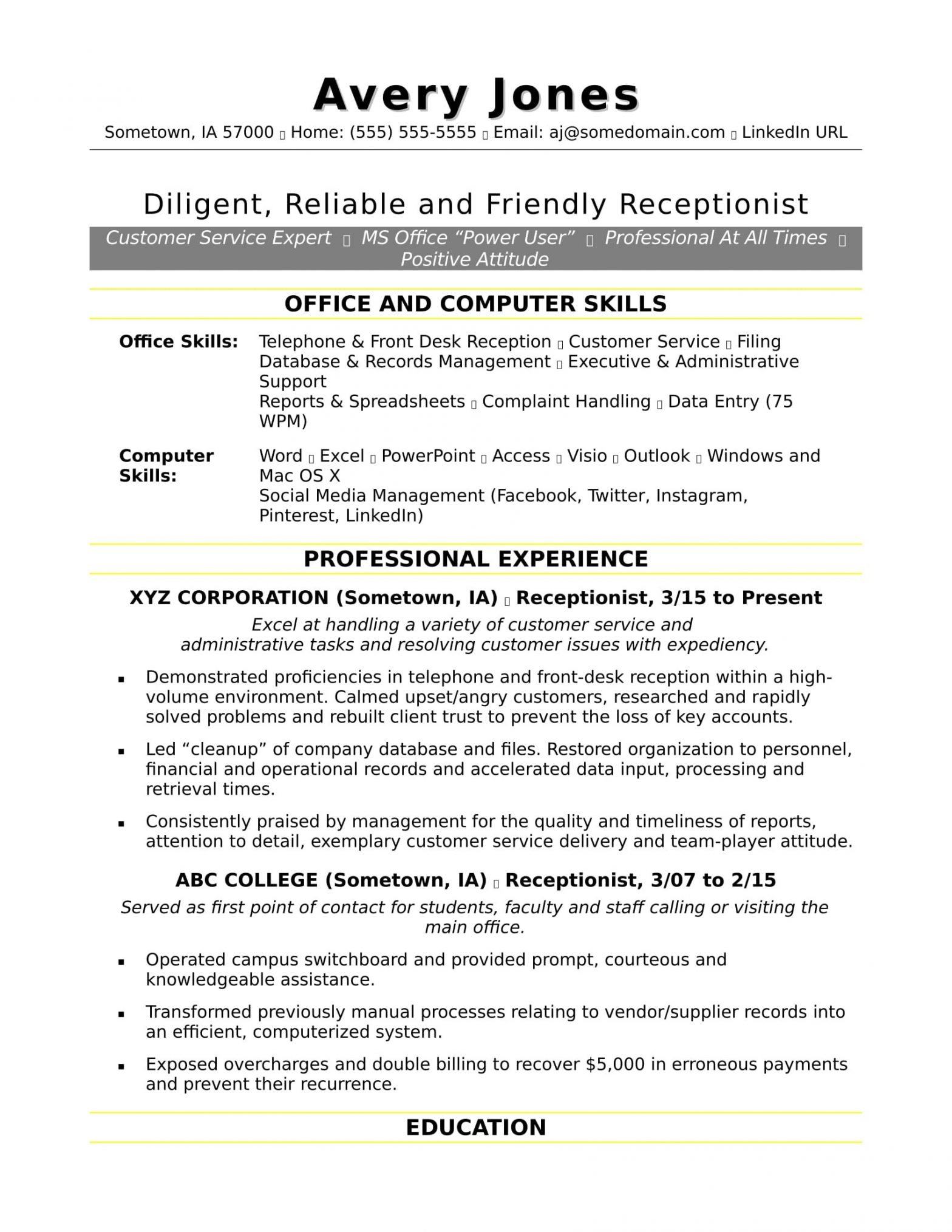 Front Desk Receptionist Reception Resume Sample Receptionist Resume Sample Monster.com