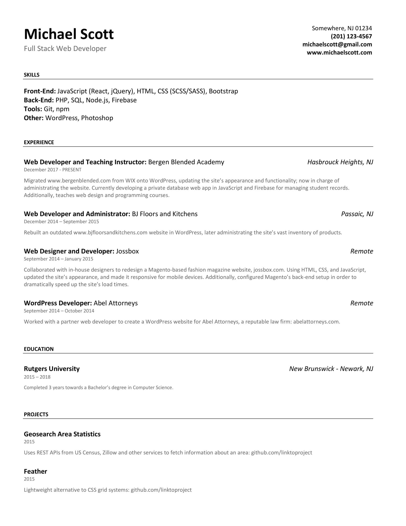 cv form for junior web developerml