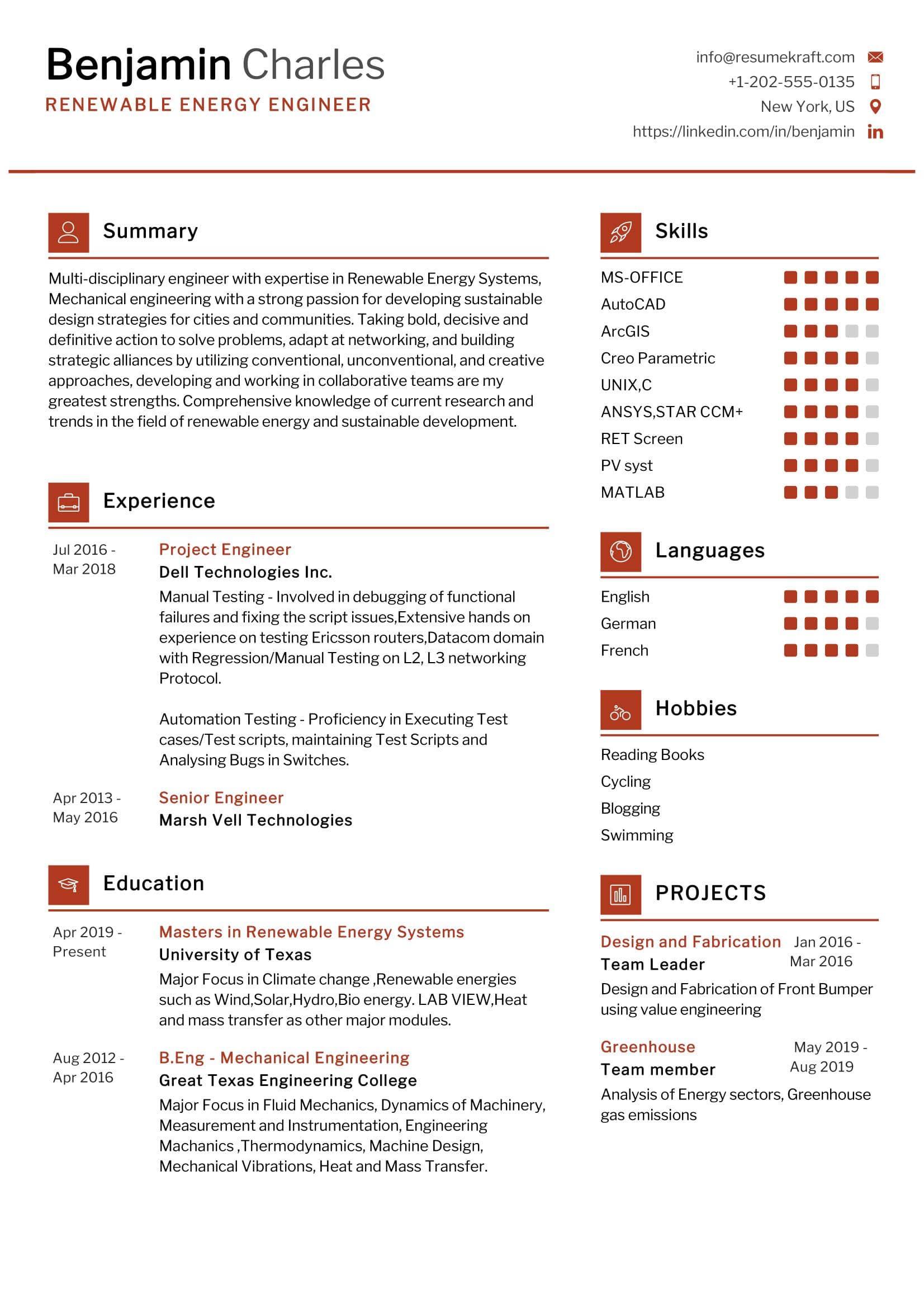 renewable energy engineer resume sample