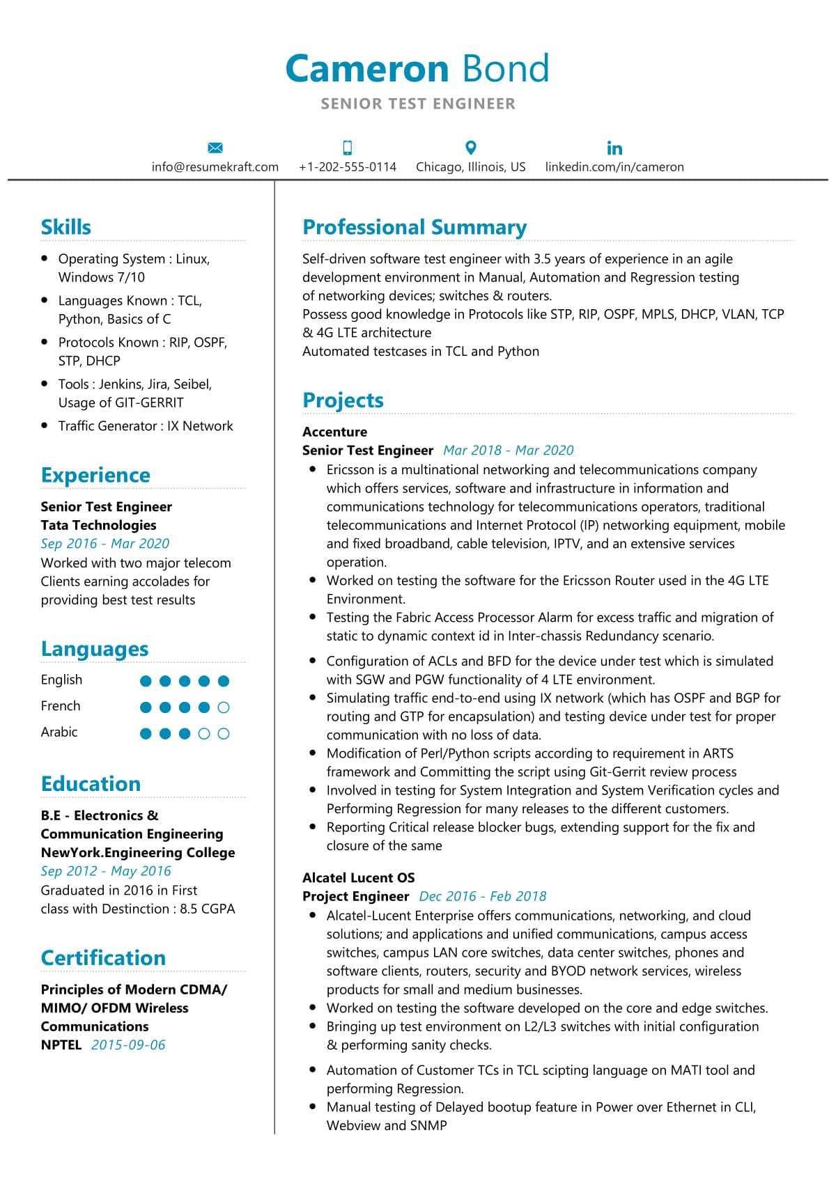 L2 L3 Protocol Testing Sample Resumes Senior Test Engineer Resume Sample 2021 Writing Tips – Resumekraft