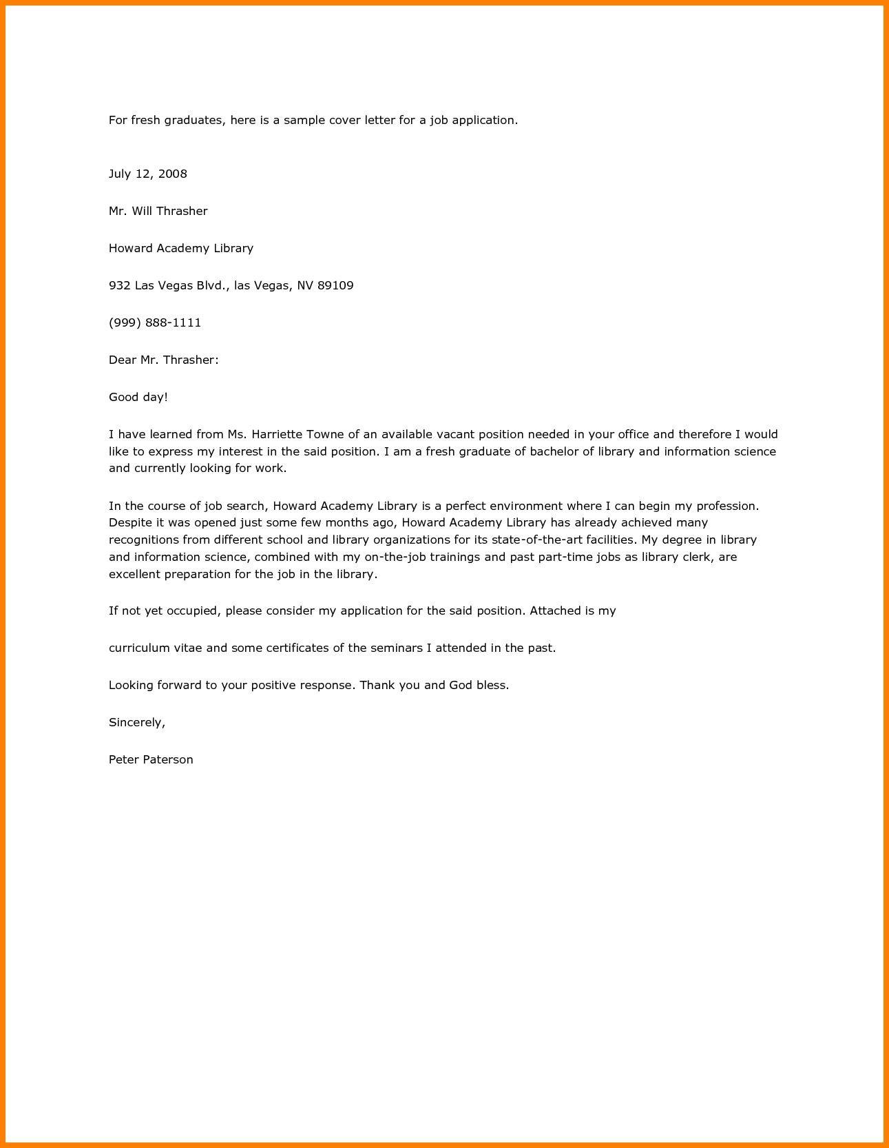 Resume Cover Letter Sample for Fresh Graduate Application Letter Sle for Fresh Graduate Pdf Job Cover Letter ...