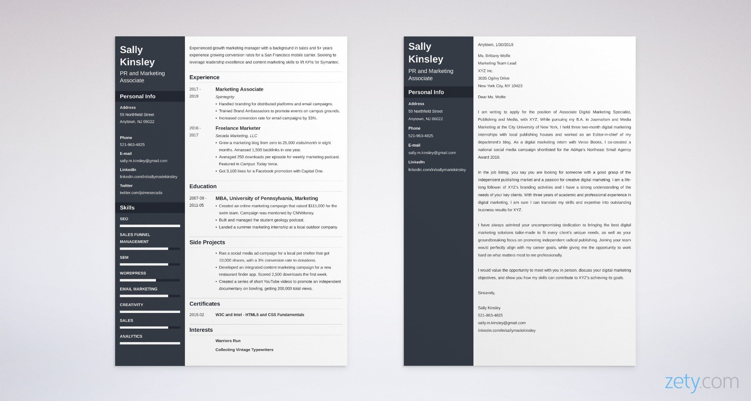 recent graduate cover letter example