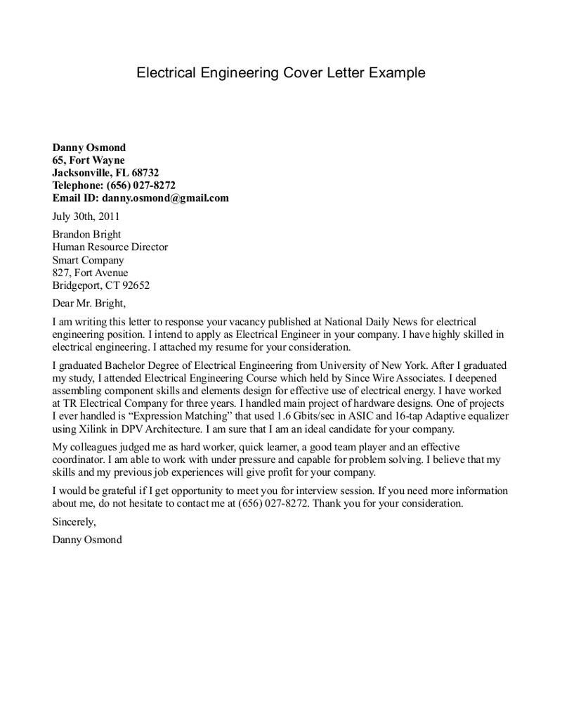 electrical engineer cover letter sampleml