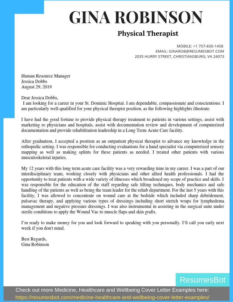 physical therapist cover letter example
