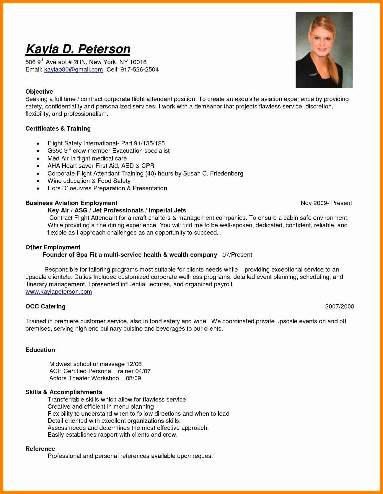 Resume Sample for Flight attendant with No Experience Flight attendant Resume No Experience Luxury 8 Cv for Flight ...