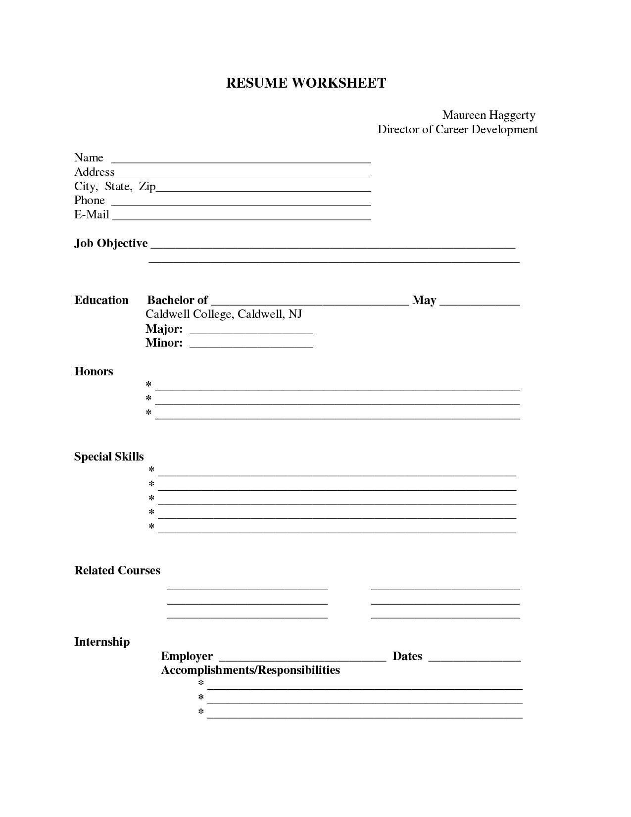 Sample Blank Resume forms to Print Free Printable Resume Builder - Http://www.resumecareer.info/free ...