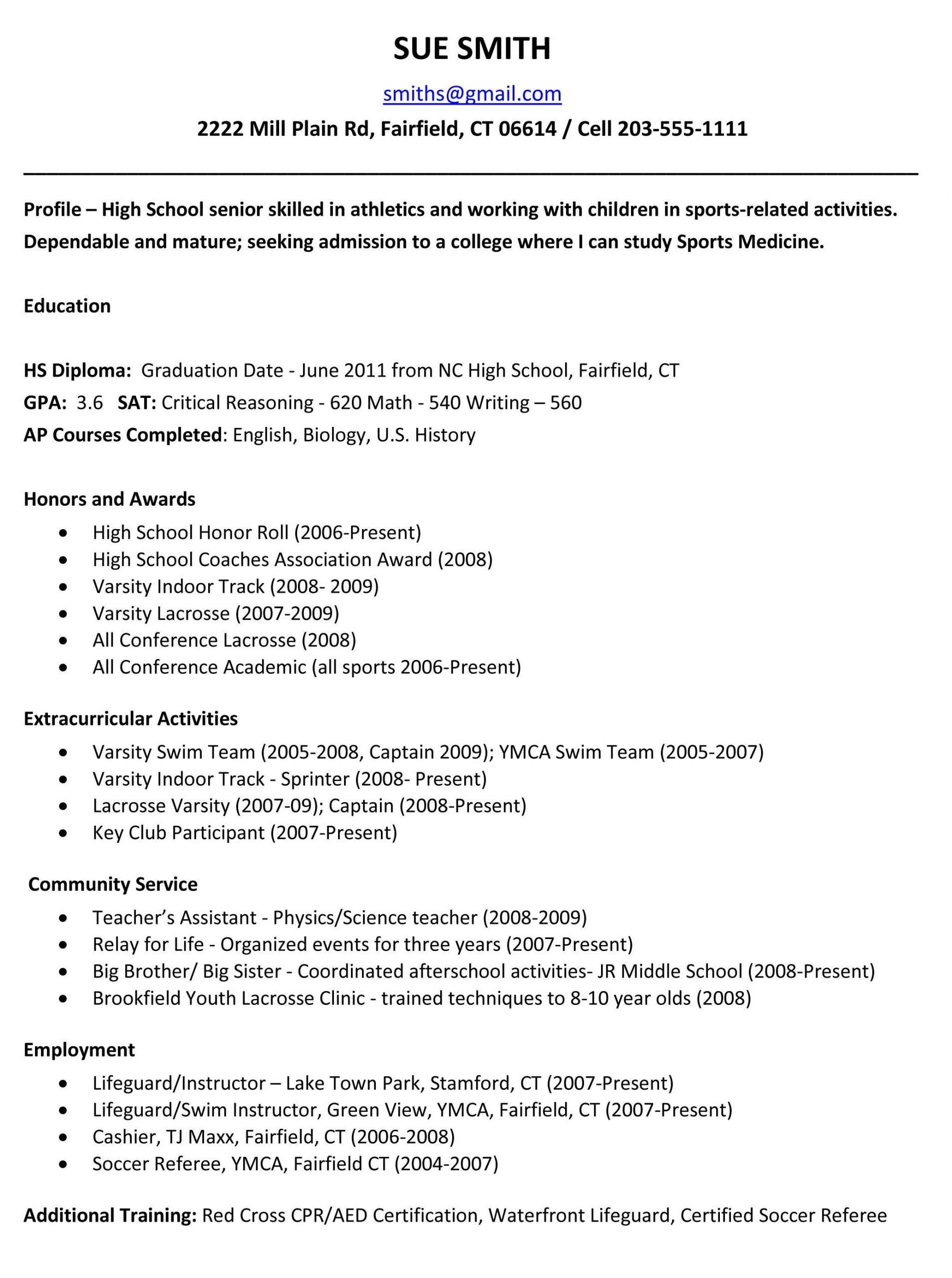 Sample High School Senior Resume for College Sample High School Resume for College App – High School Resume …