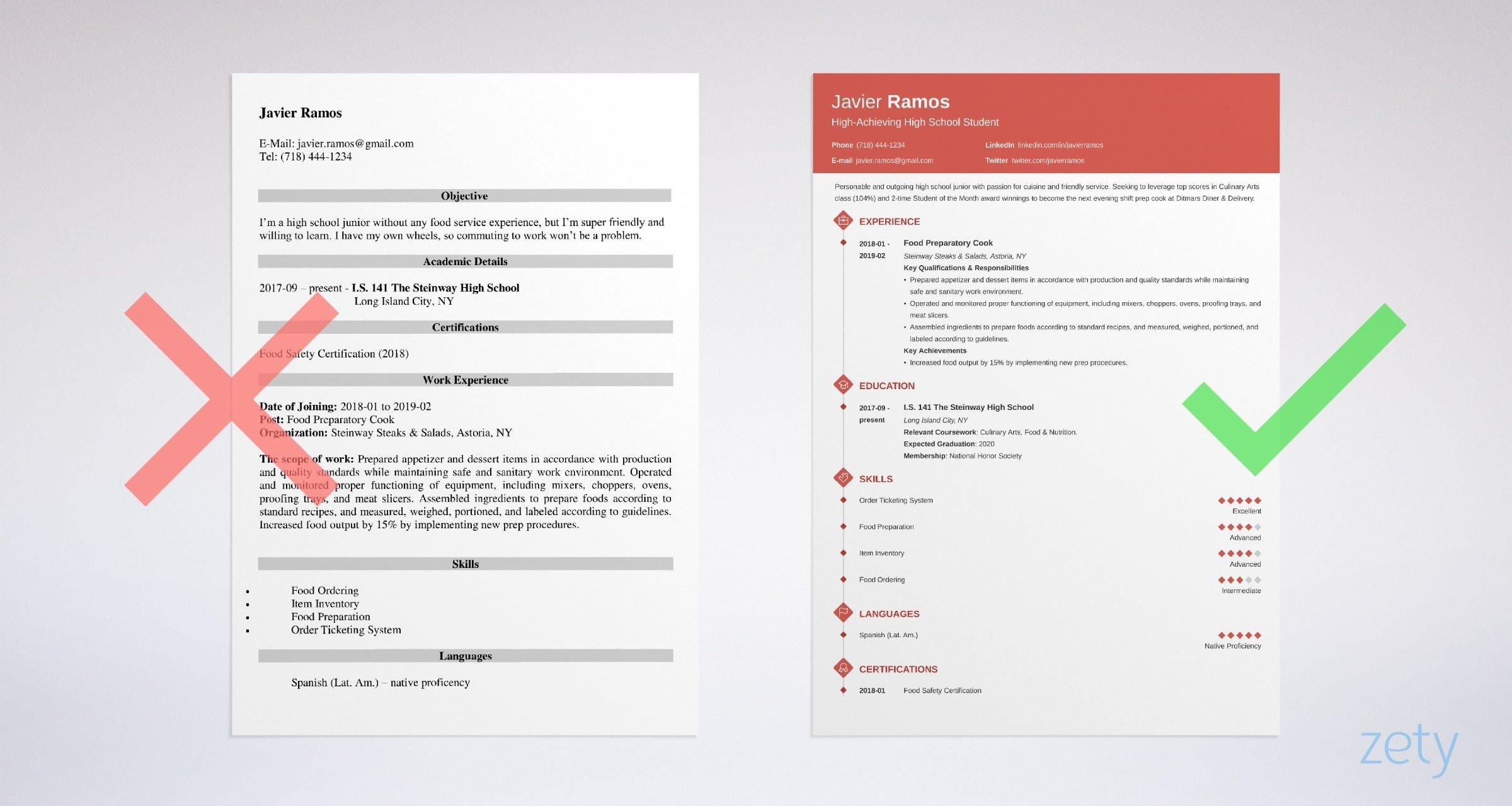 high school student resume example