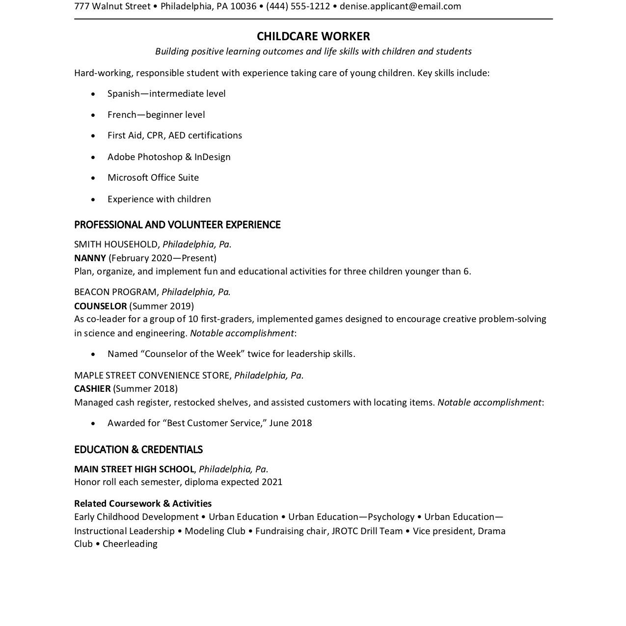 part time job resume example for a teen