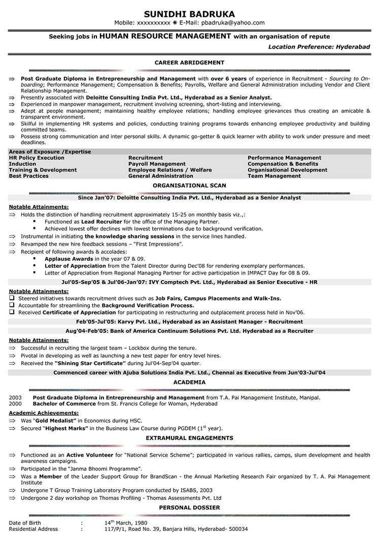 sample resume format for hr asistantml