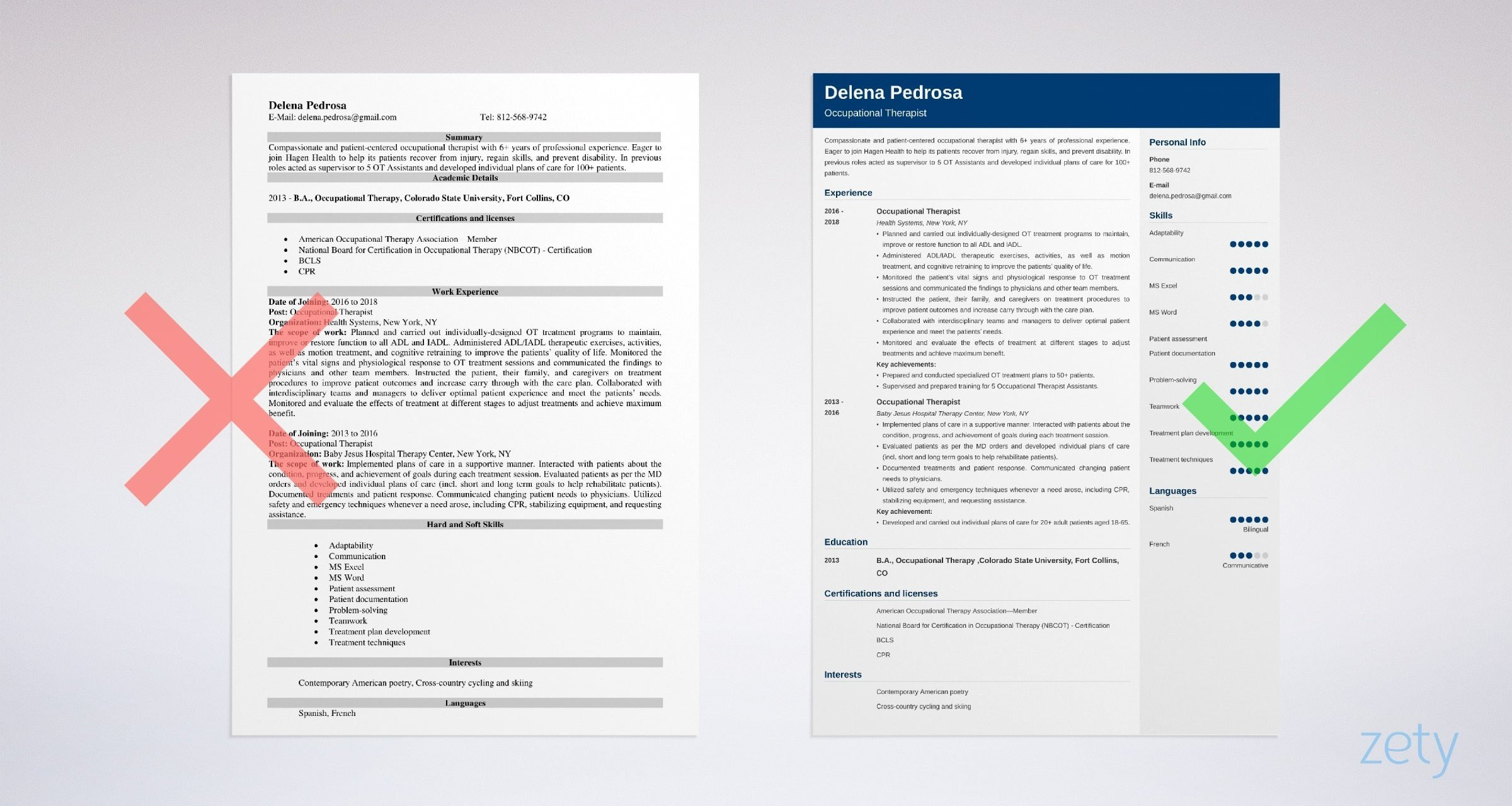 occupational therapy resume example