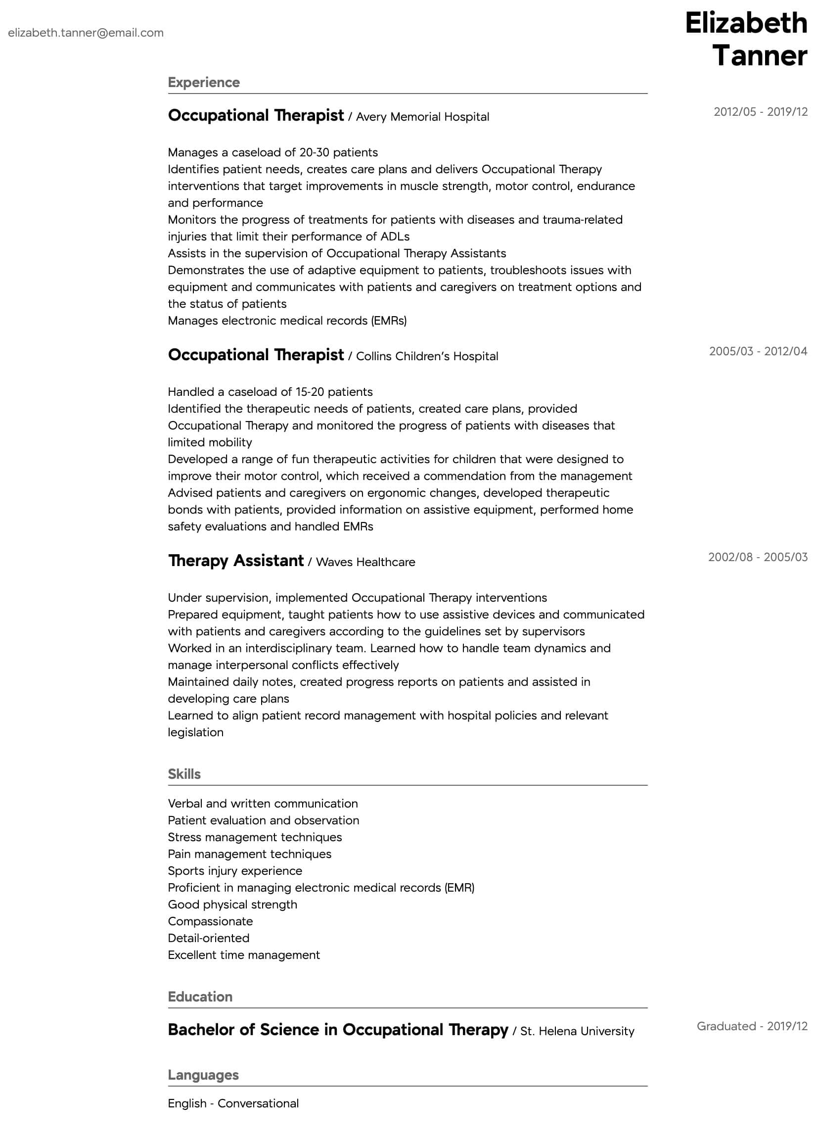 occupational therapy resume sample