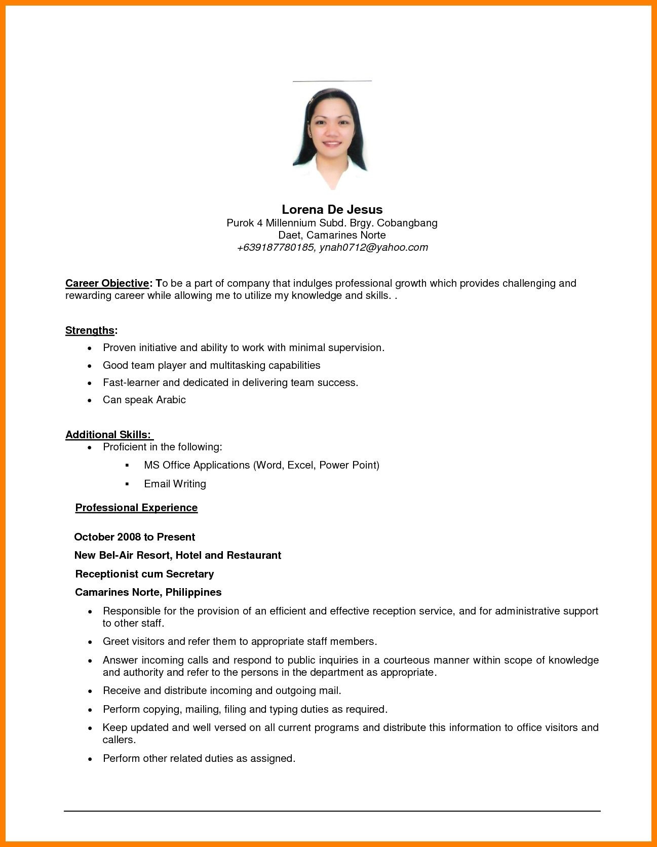 objectives in resume sample