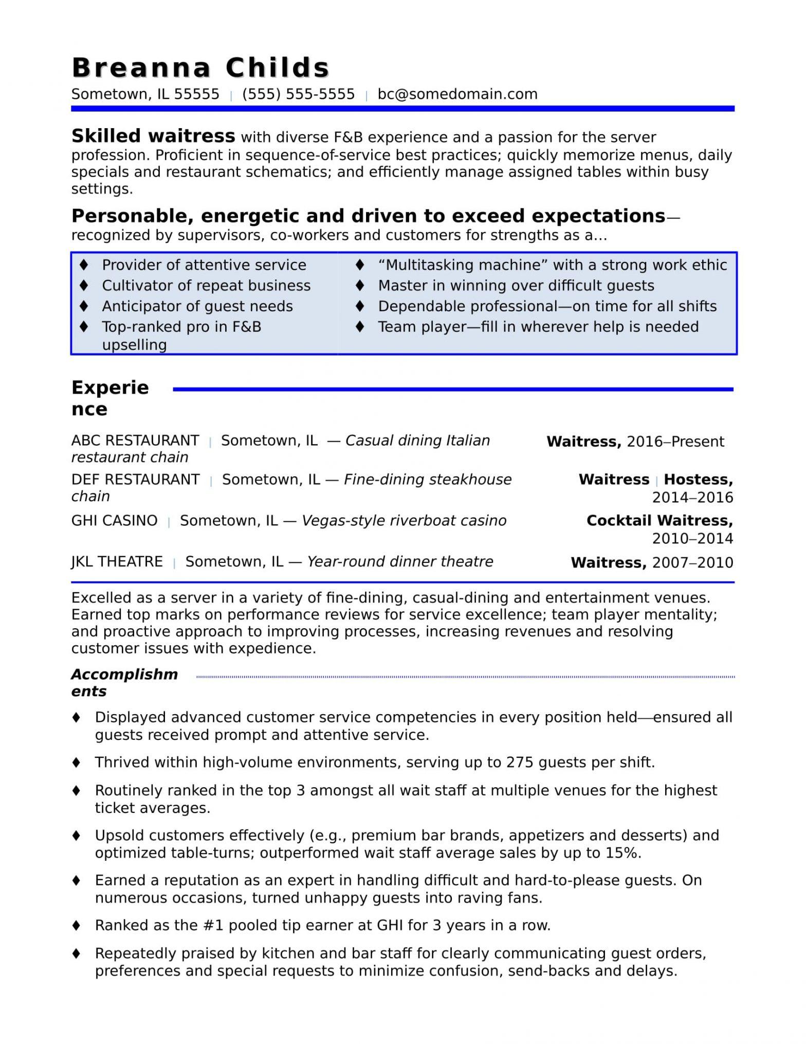 Sample Of Resume for Waitress Position Waitress Resume Sample Monster.com