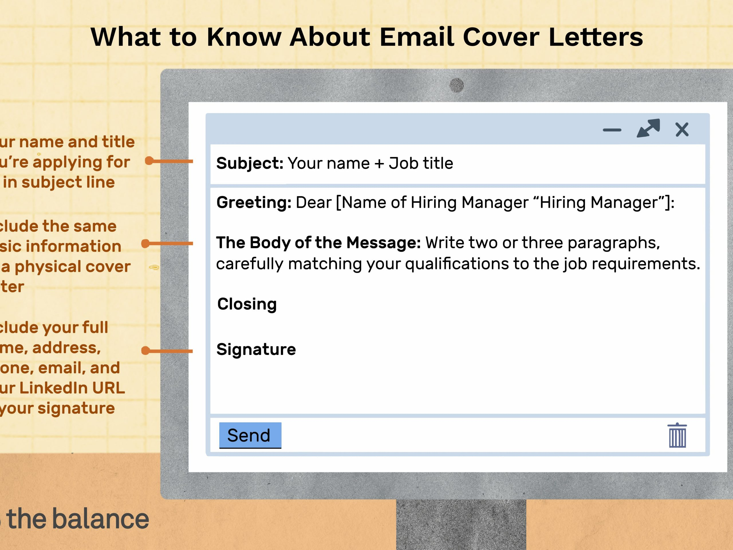sample email cover letter message to hiring manager
