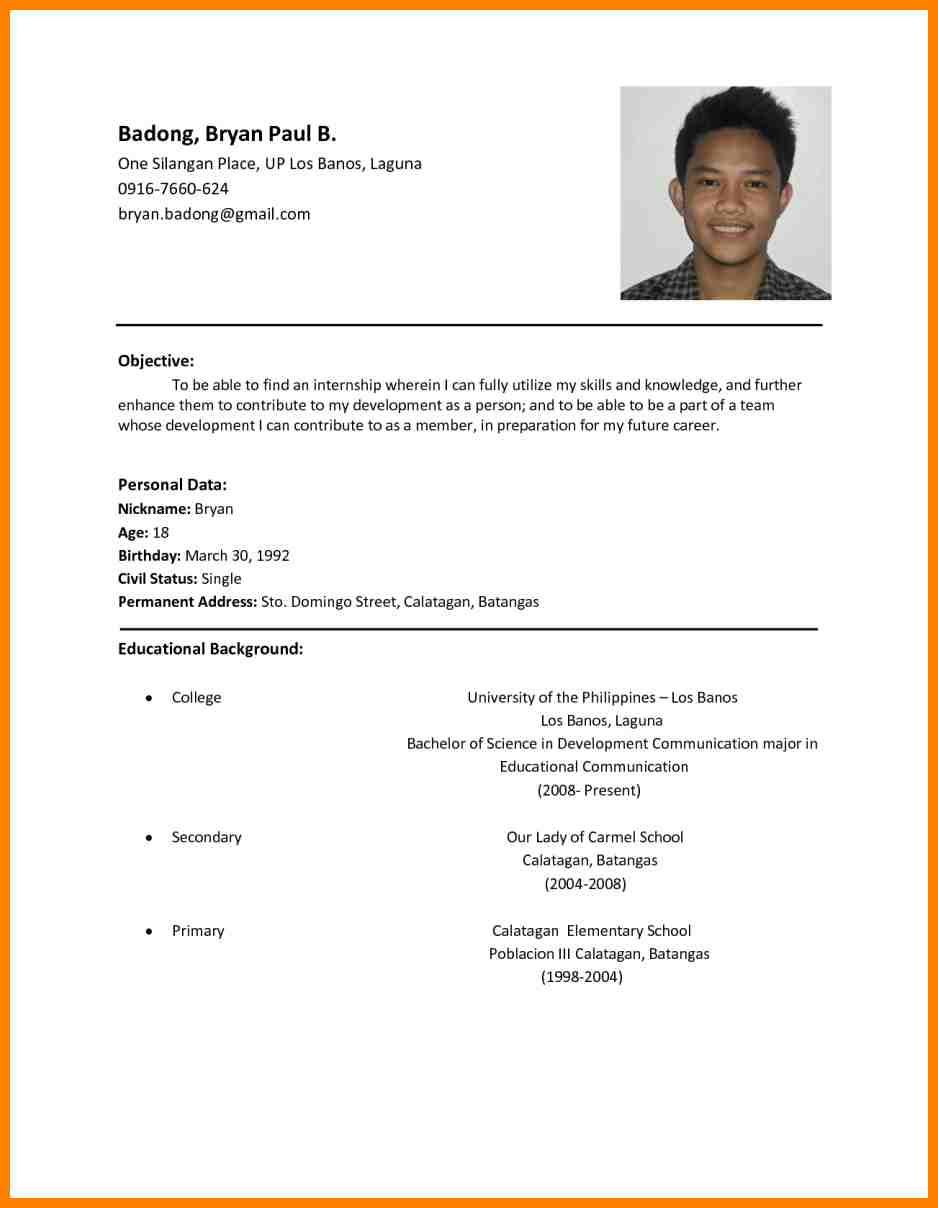 Sample Of Simple Resume In Philippines 11lancarrezekiq Resume Samples Philippines Sample Resume format, Basic ...