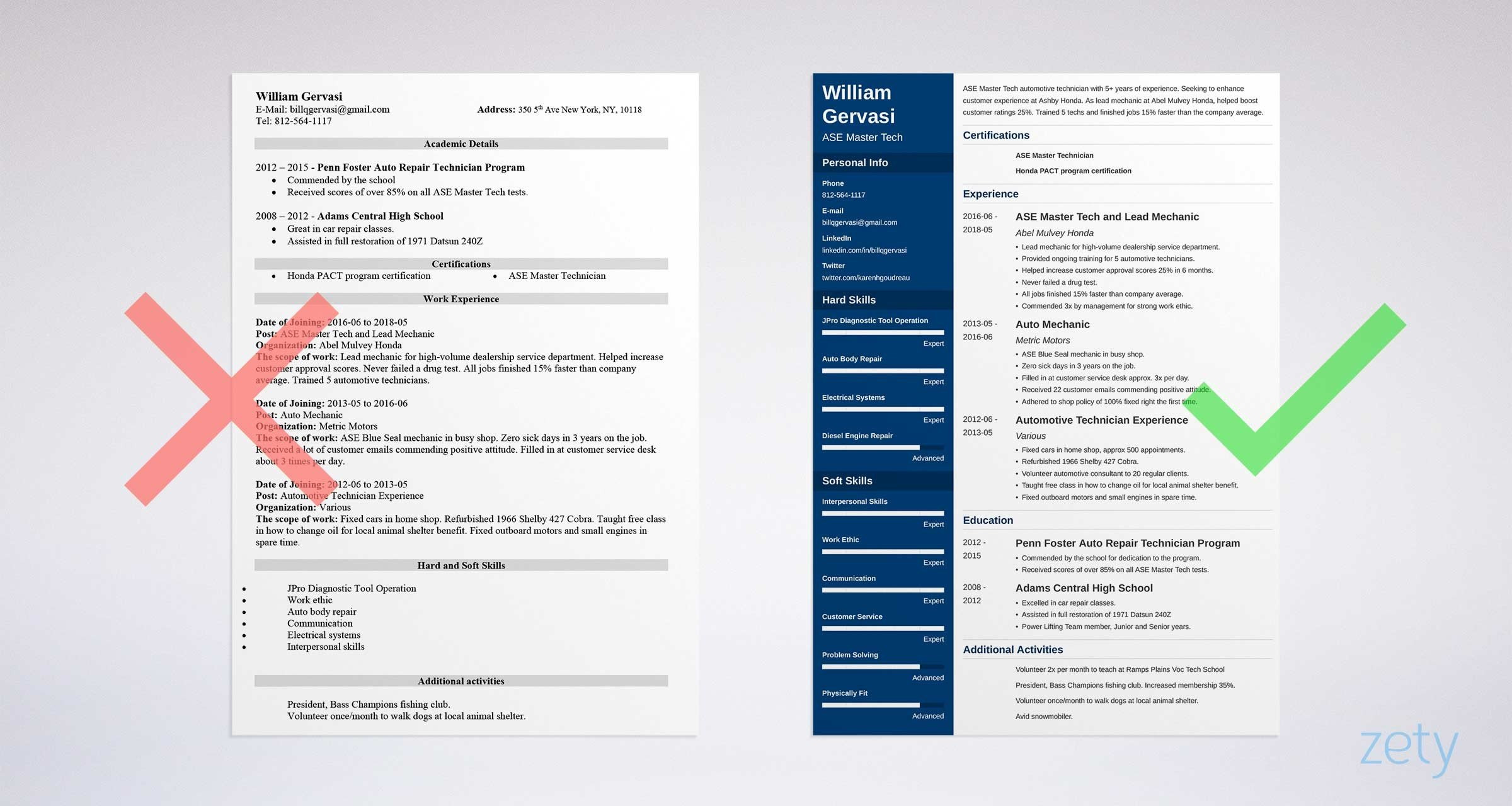 mechanic resume example