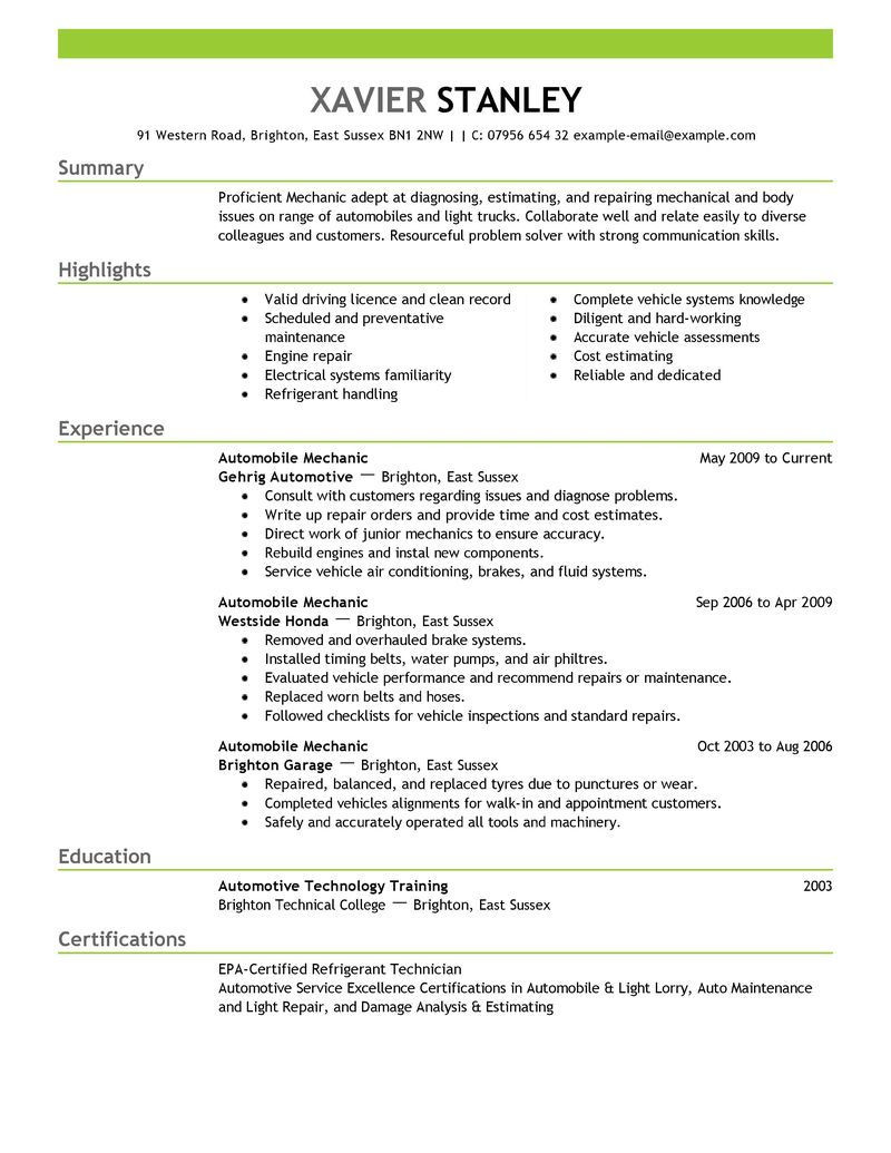 Sample Resume for Auto Mechanic Technician Best Mechanic Resume Example Livecareer Resume Objective …