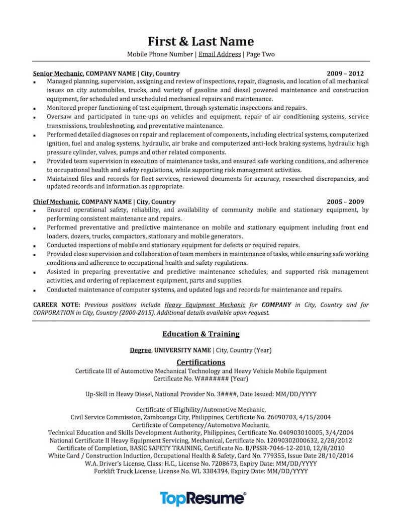 automotive mechanic resume