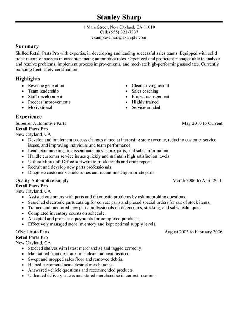auto parts clerk resumeml