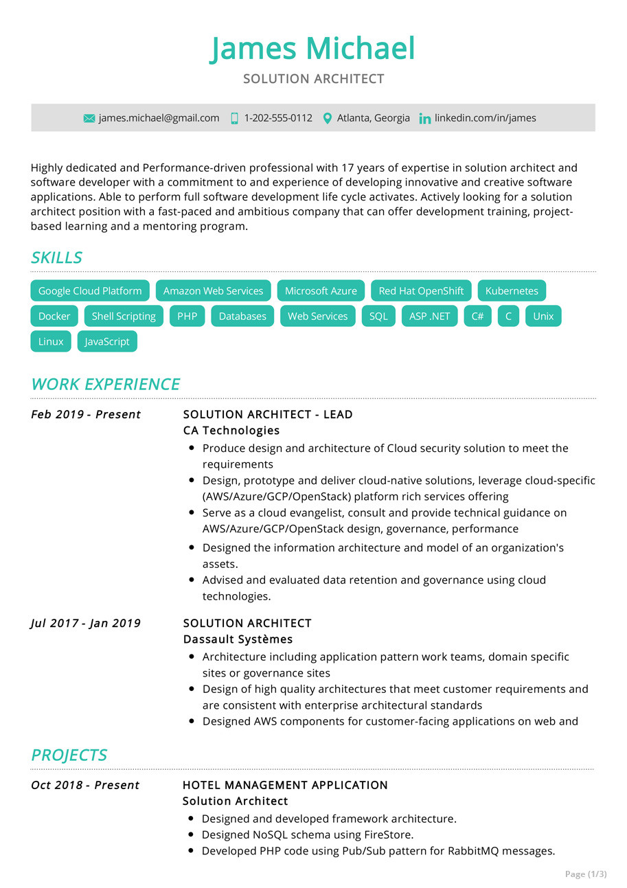 solution architect resume example
