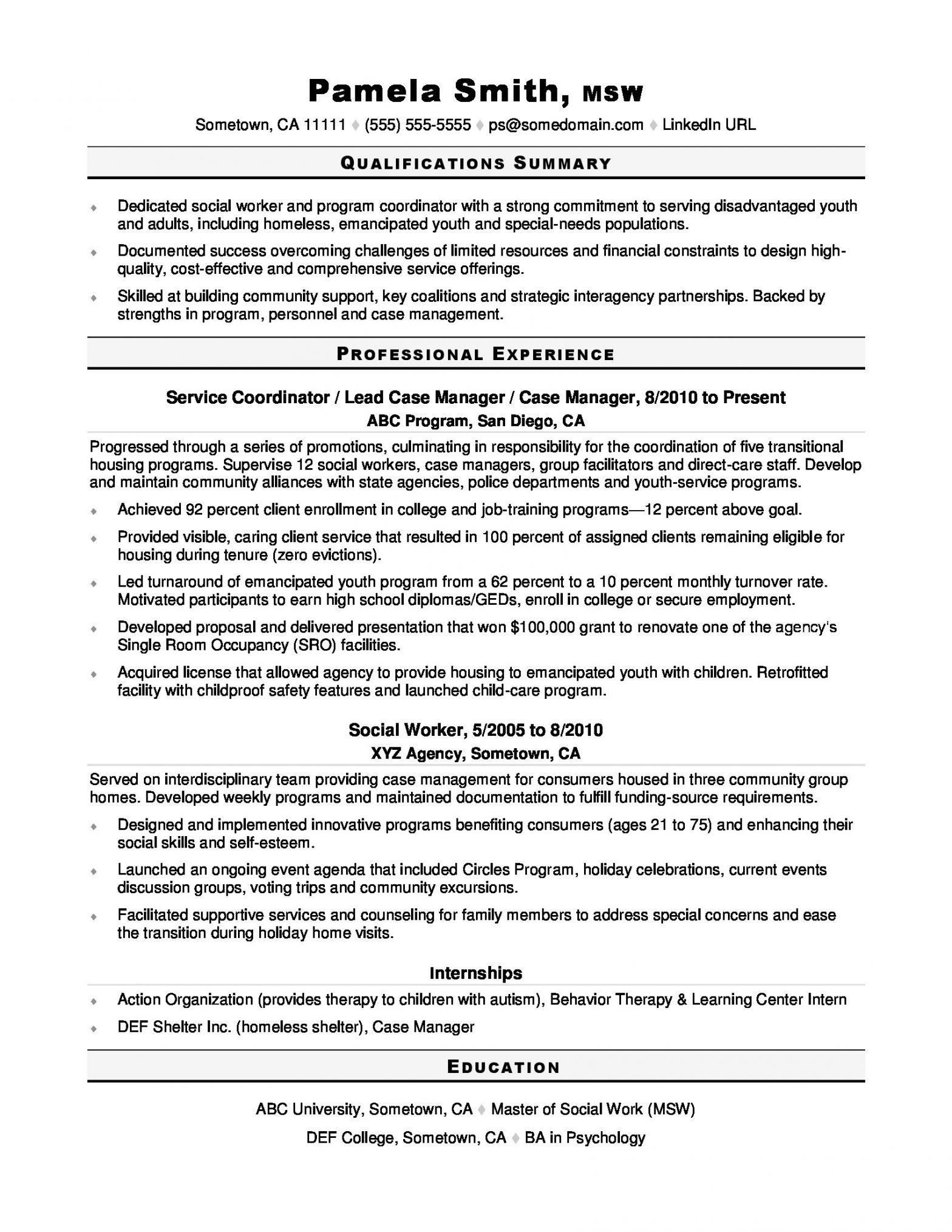 Sample Resume for Case Manager social Work social Worker Resume Sample Monster.com