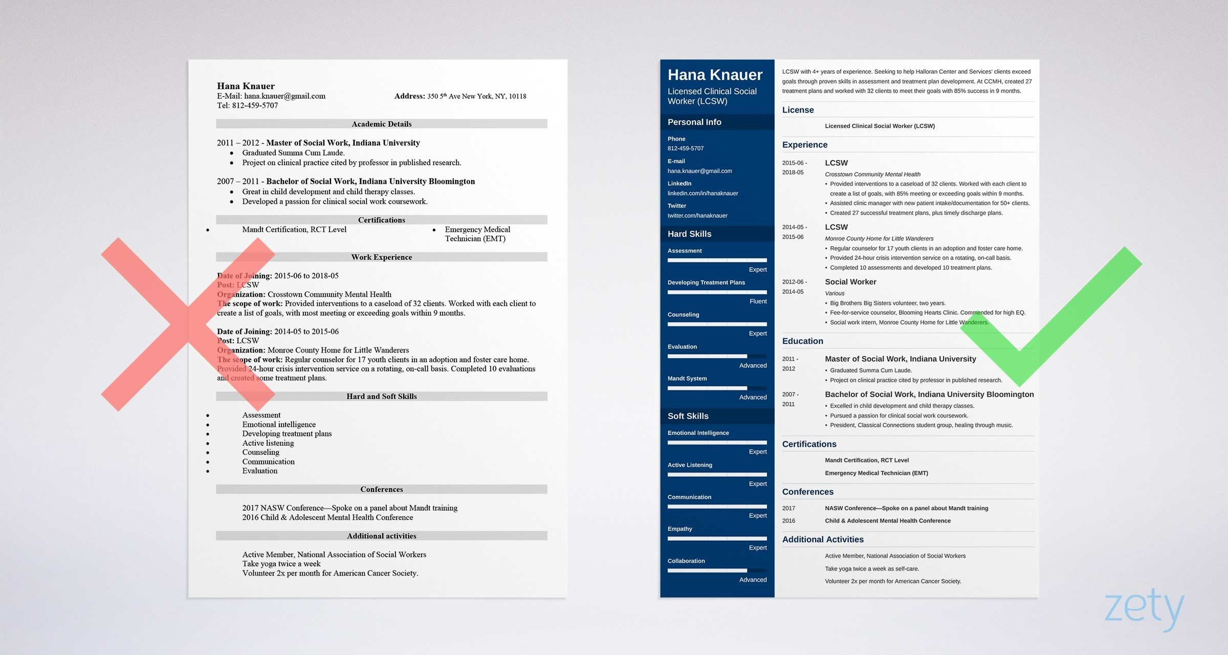 social work resume example