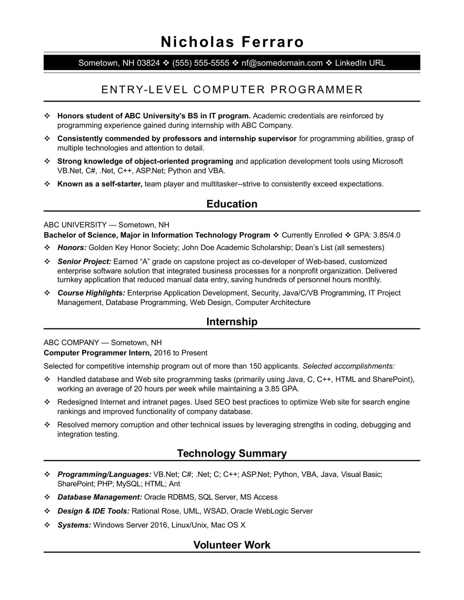 Sample Resume for Computer Programming Student Entry-level Programmer Resume Monster.com