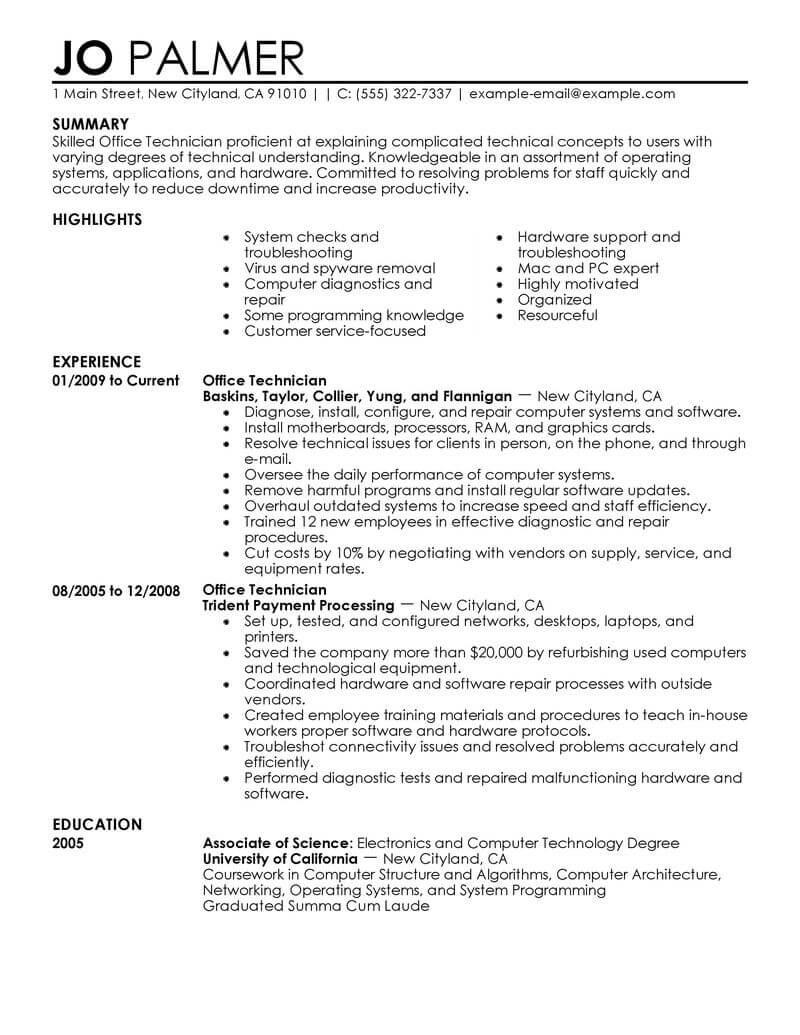 puter installation technician resumeml