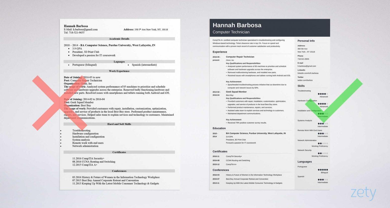 Sample Resume for Computer Repair Technician Computer Technician Resume Sample & Job Description