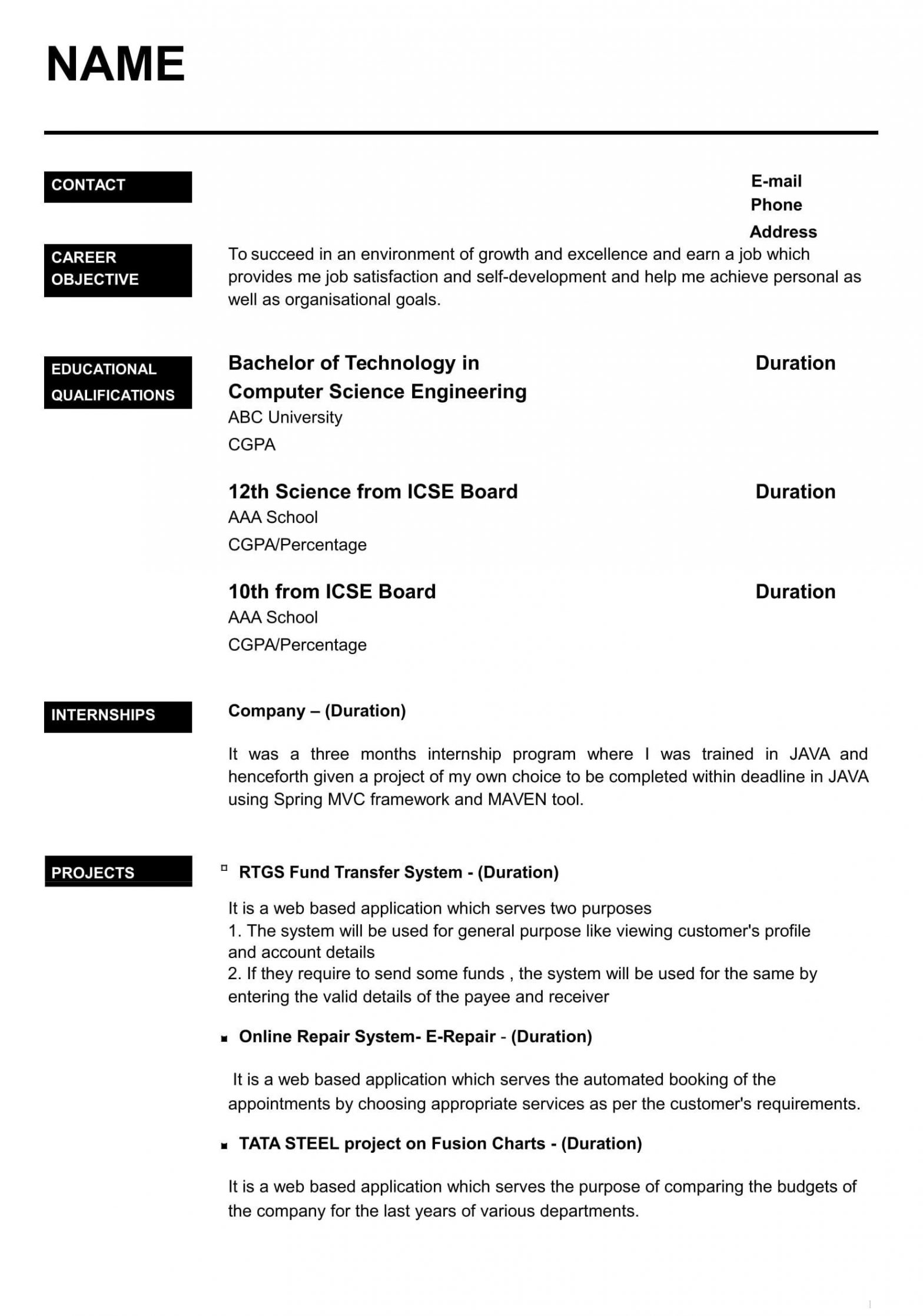 Sample Resume for Computer Science Engineering Students Freshers Computer Science Undergraduate Resume Elegant Cv for Freshers In ...