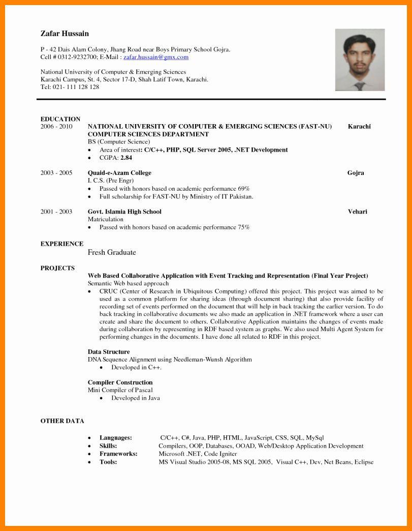 Sample Resume for Computer Science Fresh Graduate Pdf Entry Level Computer Science Resume Elegant 8 Cv Sample for Fresh …