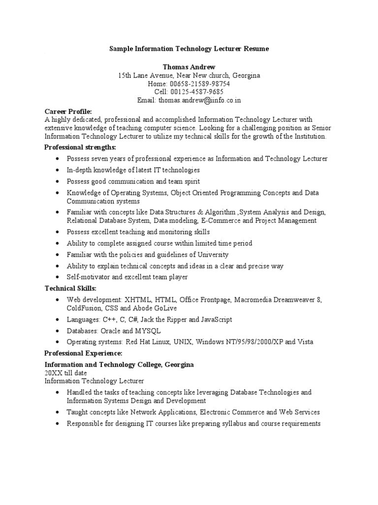 Sample Resume for Computer Science Lecturer In Engineering College Sample Information Technology Lecturer Resume - Id:5c13089cb82c8