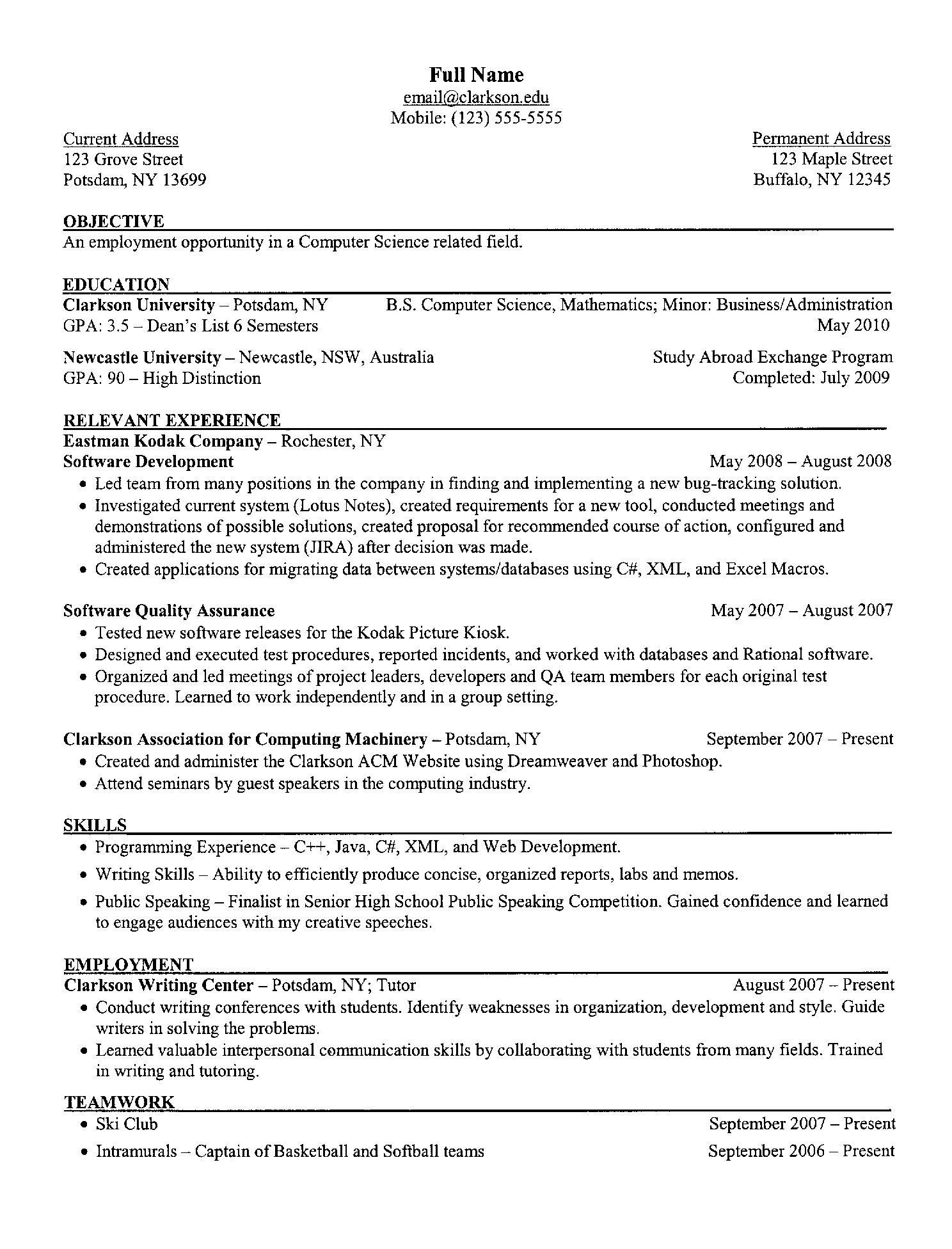 Sample Resume for Computer Science Student Computer Science Resume Example Student Resume Template, Resume ...